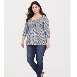 Torrid lace-up navy gingham baby doll top